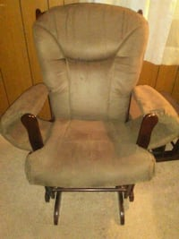 brown wooden framed gray padded glider chair Archdale, 27263