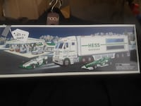 white and green Hess truck toy box 6 km