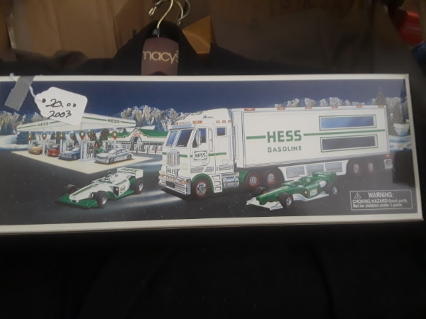 white and green Hess truck toy box
