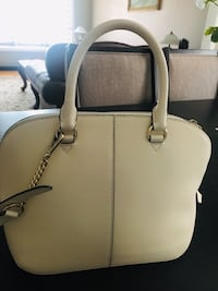 Women's white leather 2-way bag