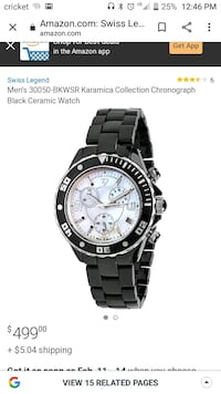 Men's 30050-BKWSR Karamica Collection Chronograph Black Ceramic Watch