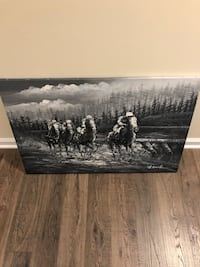 Painted canvas of horses