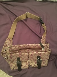 Women's white and brown shoulder bag