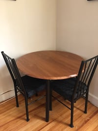 Wooden Dining table with 2 cushioned chairs