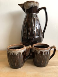 Vintage 60s Ceramic Pitcher with Matching Mugs