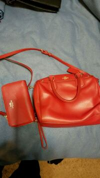 COACH Red bag with wallet Lithonia, 30038