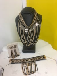 black and silver necklace with earrings Toronto, M3N 2G9