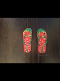 Girls size 2-3 Strawberry Flip Flops (Used Once)  Milton
