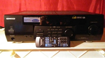 black Kenwood stereo amplifier with remote