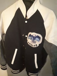 black and white Eagles button-up letterman jacket
