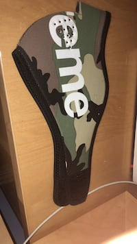 Green, white, and black camouflage supreme mouth mask Surrey, V3W 1S6