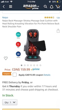 Neck and back massage chair