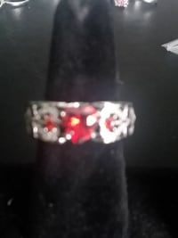 925 Princess Red Ruby Ring SIZE 9