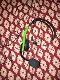 Black and green headset