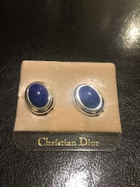 Pair of silver and blue gemstone earrings Mount Rainier, 20712