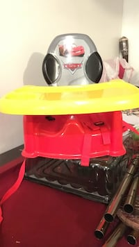 red, yellow, and gray Lightning Mcqueen bumbo seat with tray Grantville, 30220