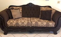Brown and black floral fabric sofa Phoenix, 85042