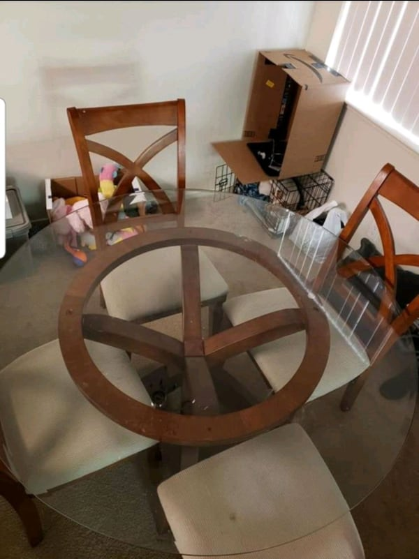 """54"""" Glass living room table with 4 chairs d13c878a-25ea-46a4-ad89-be5ee1551036"""