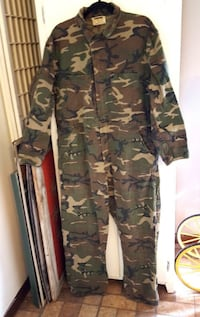 Vintage Ranger Full Piece Coveralls Army Camo Green Brown Hunting XL Millington