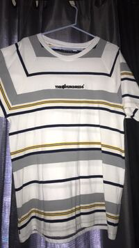 white and blue striped crew-neck shirt Grover Beach