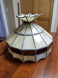 Amber & beige leaded glass pendant lamp Elgin