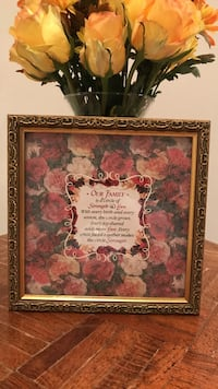 Our family quote floral print with frame