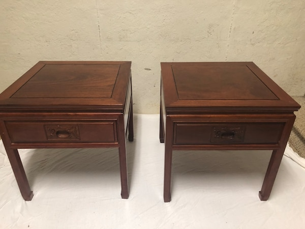 Antique Japanese End Tables (pair) and matching Coffee Table, hand carved  designs