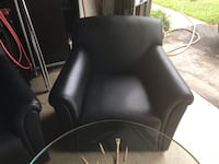 Lounge Chair - Black Leather, Bernhardt Glenwood