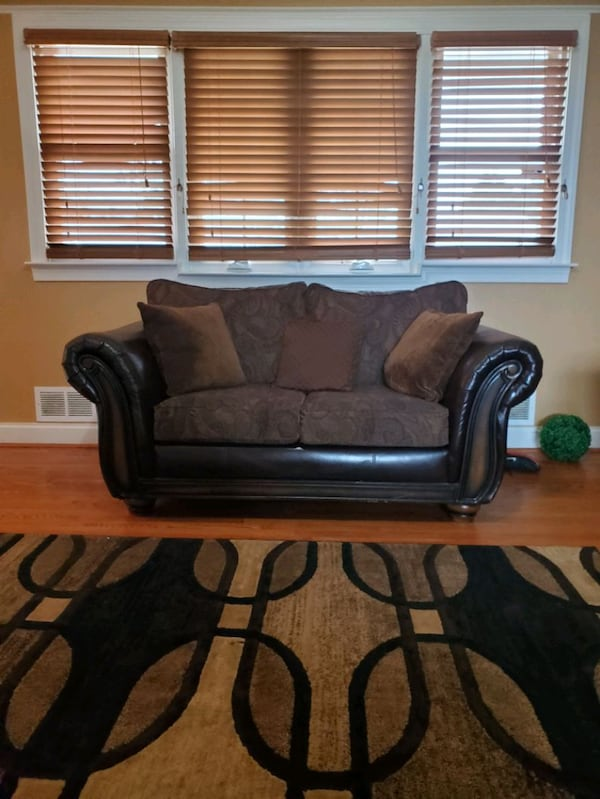 Couch Set Bobs Furniture: Brown Leather & Cloth  ad9895c8-fb42-4825-a665-d7b93c9b8d29
