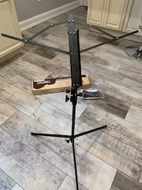 Folding music stand with carrying bag and maintenance kit