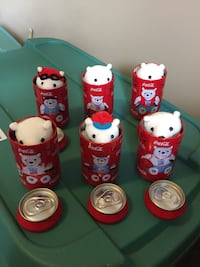 Six white coca-cola teddy bears and coke cans Calgary, T2X