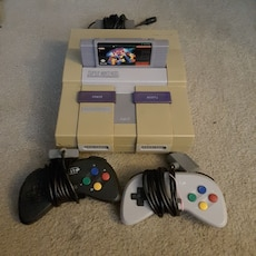 Snes with tetris 2 and 2 controllers