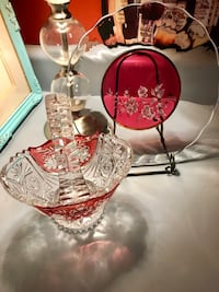 Ruby Red And Clear Crystal Handled Basket & Clear & Red Plate With Floral Etching Kansas City, 64118