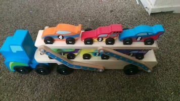 Toy trailer with toy cars