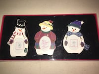 Three wooden picture Christmas ornaments