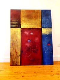 brown, blue, and red abstract painting Bristow