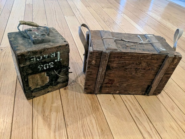 Vintage Wooden Ammo Boxes