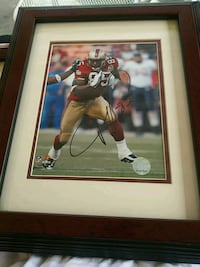 football player poster with brown wooden frame San Jose