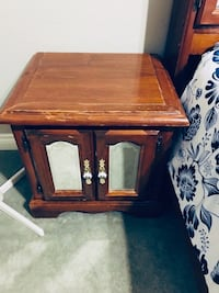 2 Brown wooden framed glass top side table (night tables) Surrey, V3S 1G5