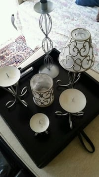 Modern metal candle holders set decor