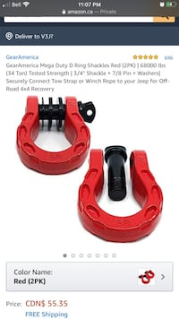 D Ring Shackles - Red 3/4 inch with 7/8 pin 68,000lbs - recovery gear  New Westminster, V3L 5G3