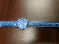 round silver chronograph watch with blue leather strap Summerfield