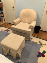 white fabric sofa chair with ottoman Rockville, 20850