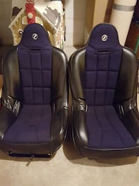 two blue-and-black car seats 20 km