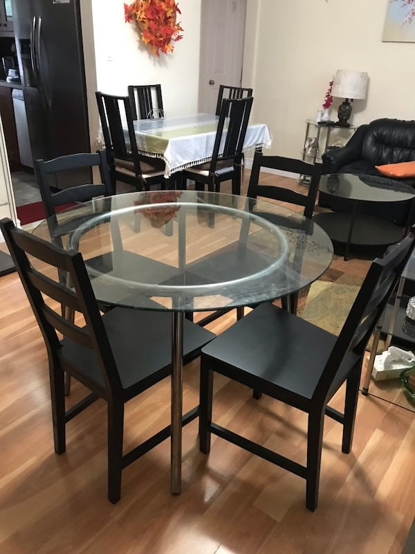Outstanding Round Ikea Glass Dining Table With 4 Wooden Chairs Unemploymentrelief Wooden Chair Designs For Living Room Unemploymentrelieforg