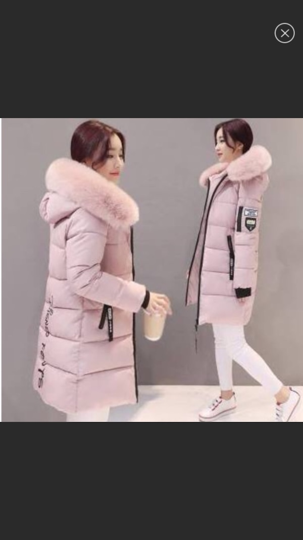 New with Tag! Blush Pink Fur Hood Cotton Long Puffer Coat