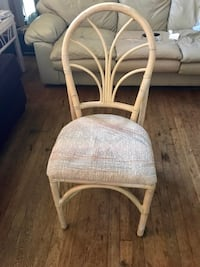 SET OF FOUR RATTAN WICKER CHAIRS WITH CUSHIONS