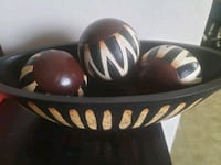 Authentic African black and white bowl with wooden Woodbridge, 22191