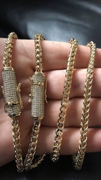 14K Gold 6mm Unisex Franco Link Bracelet & Chain Set **NEVER FADES!!!** New York, 10029