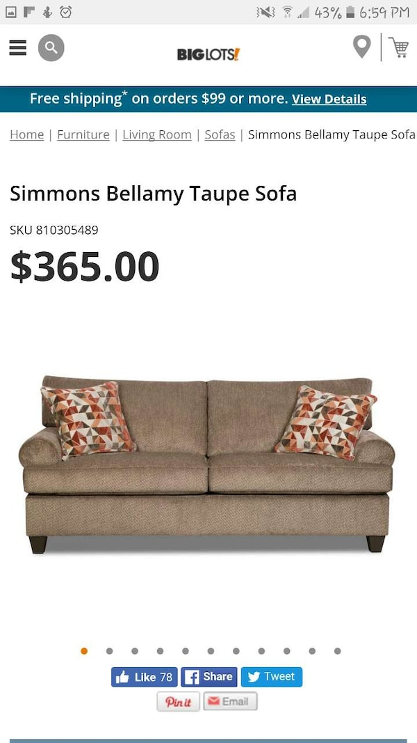 Swell Brown Cushion Simmons Bellamy Taupe Sofa Pdpeps Interior Chair Design Pdpepsorg